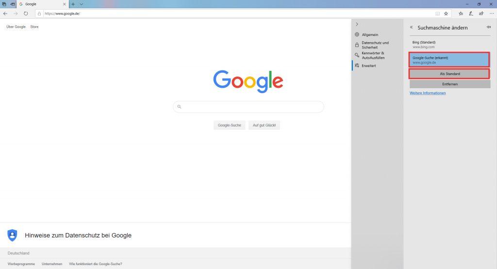 Suchmaschine ändern und als Standard festlegen