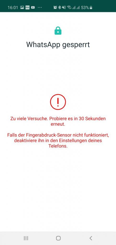 Maßnahme, wenn Fingerabdruck-Sensor nicht funktioniert