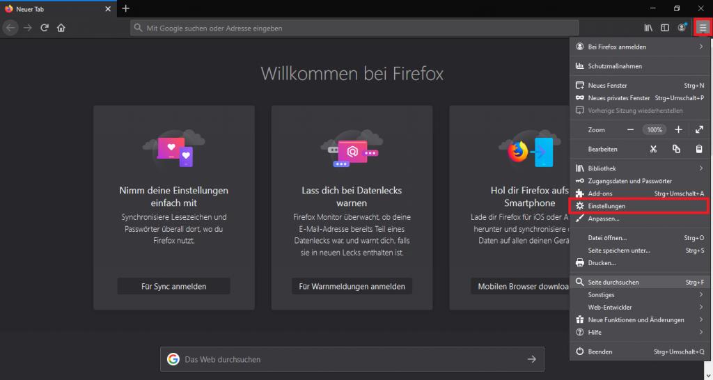 Einstellungen in Firefox öffnen