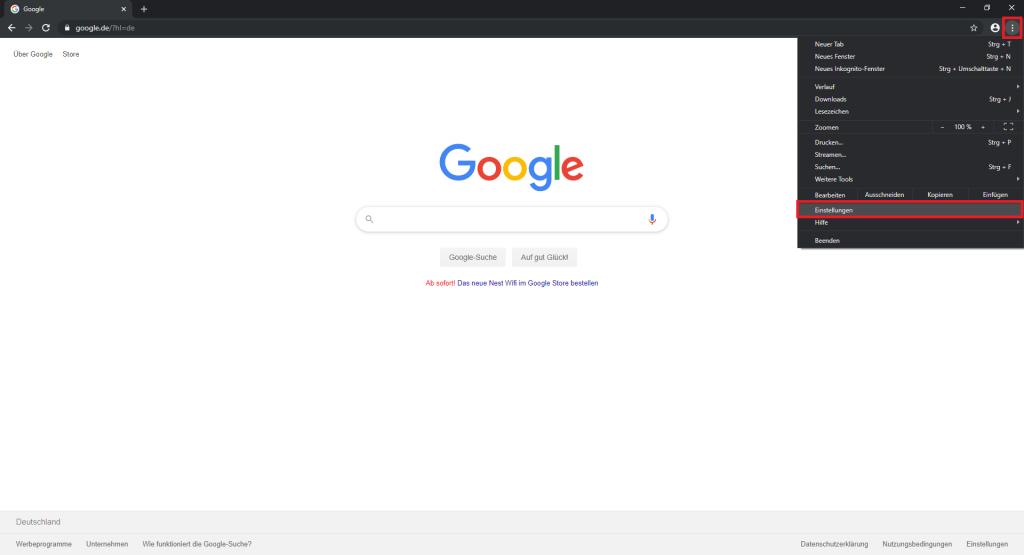 Einstellungen in Google Chrome öffnen