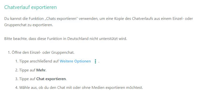 Beliebte WhatsApp Funktion - Chatverlauf exportieren nicht mehr in Deutschland verfügbar