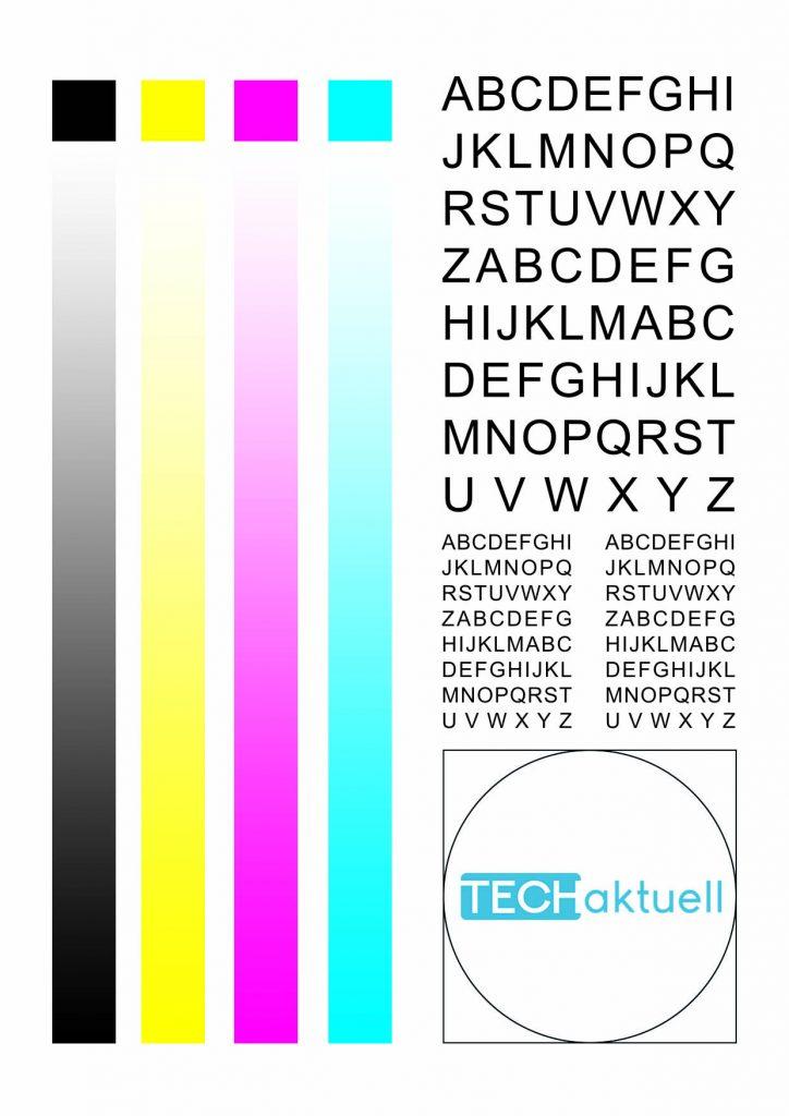 Drucker-Testseite für Tintenstrahldrucker