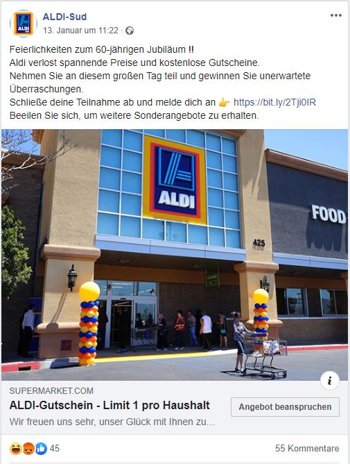 Fake Gutscheine von ALDI auf Facebook