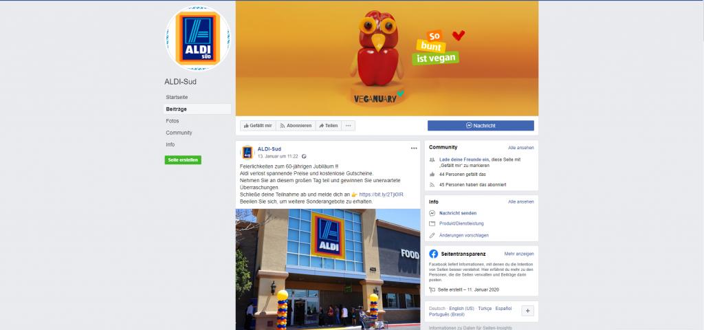 Gefälschte ALDI Facebook-Seite