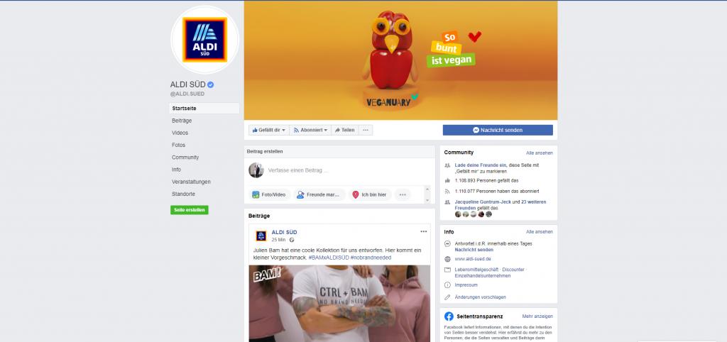 Originale Facebook Seite von ALDI Süd