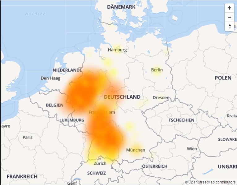 Screenshot allestörungen.de: Unitymedia Störungen