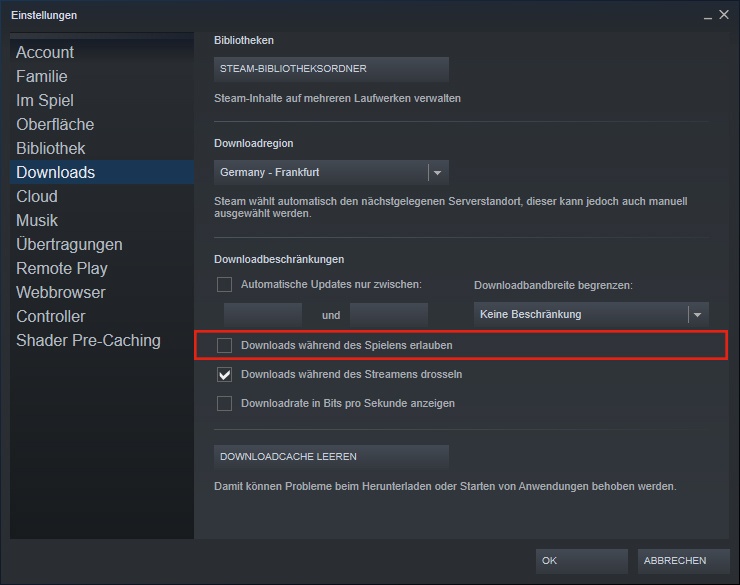 Download während des Spielens erlauben