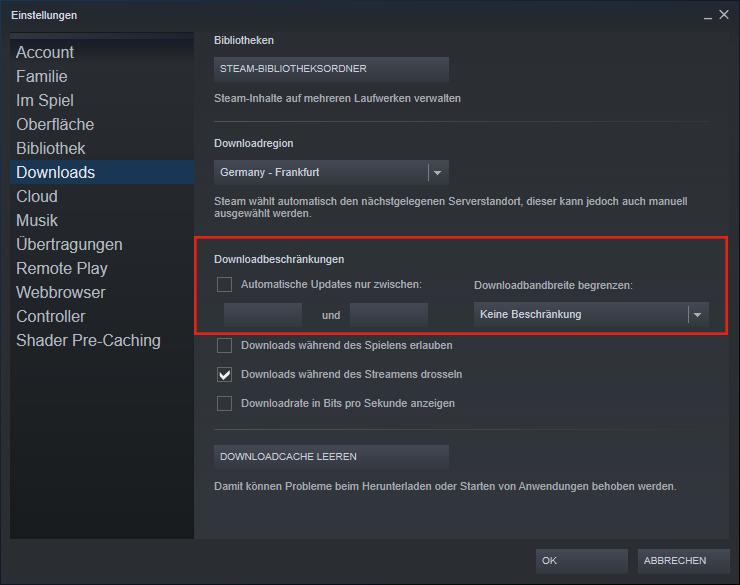 Downloadbeschränkung deaktivieren