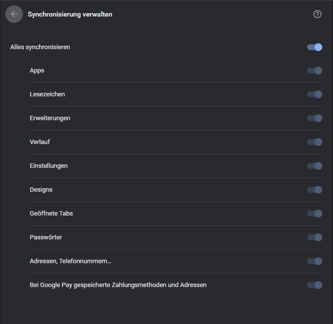 Google Chrome Einstellungen und Daten über Google-Konto sichern