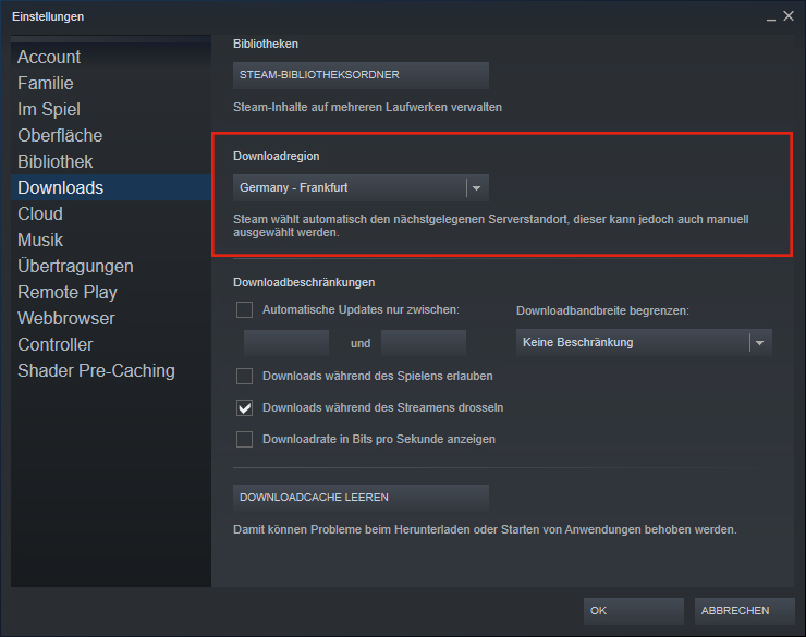 Steam Download-Server - Downloadregion wechseln