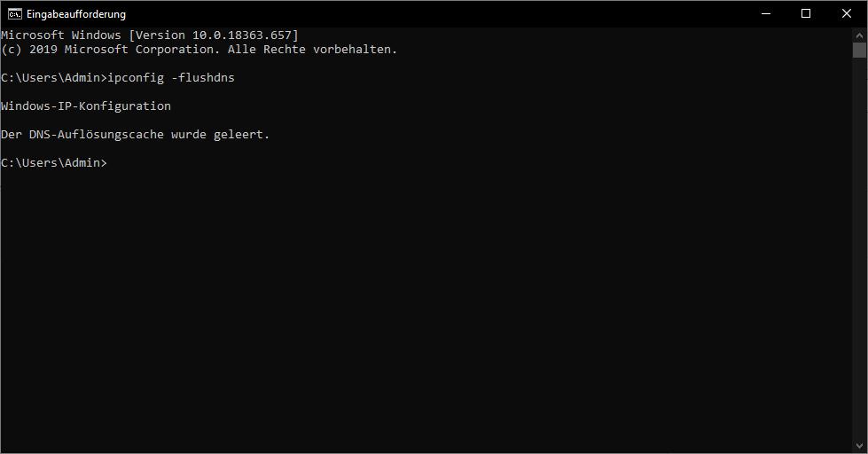 Windows DNS-Auflösungscache leeren