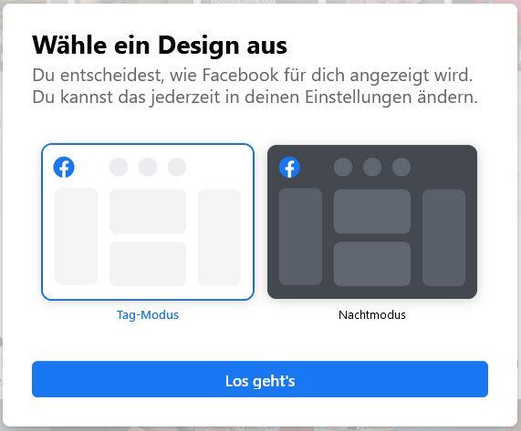 Dunkel-Modus bei Facebook
