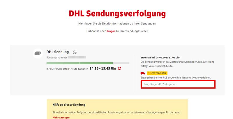Live Tracking von DHL-Paketen - hier finden Sie die Funktion