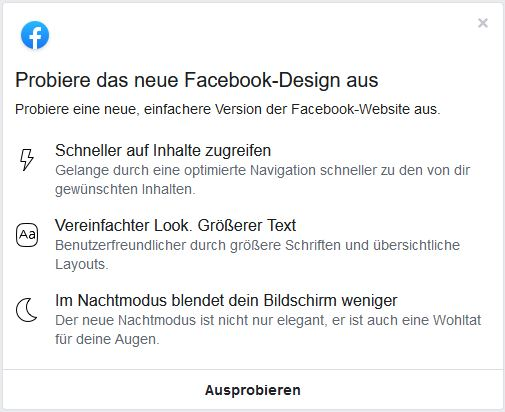 Neues Facebook Design