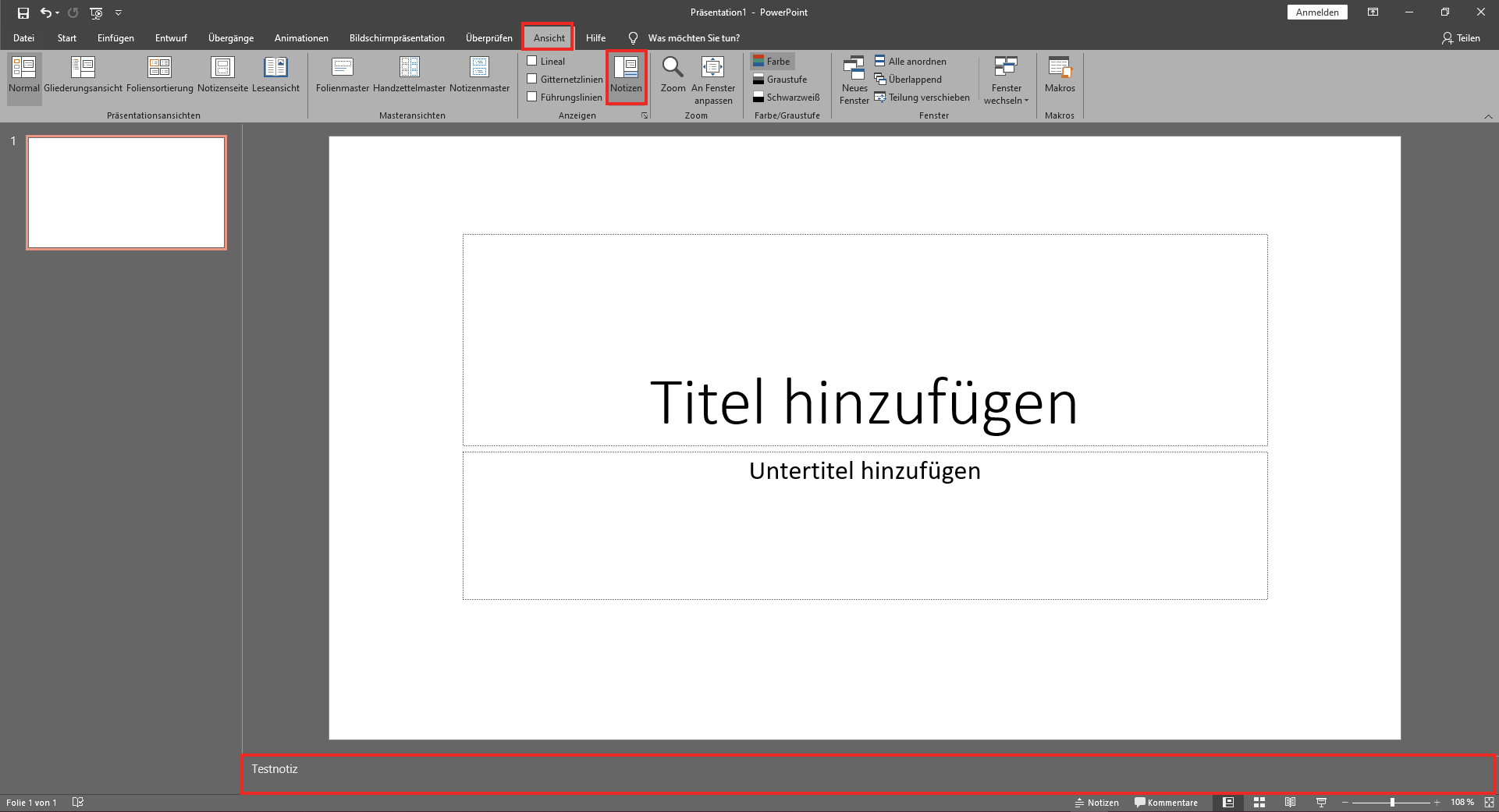 PowerPoint Unsichtbare Notiz hinzufügen