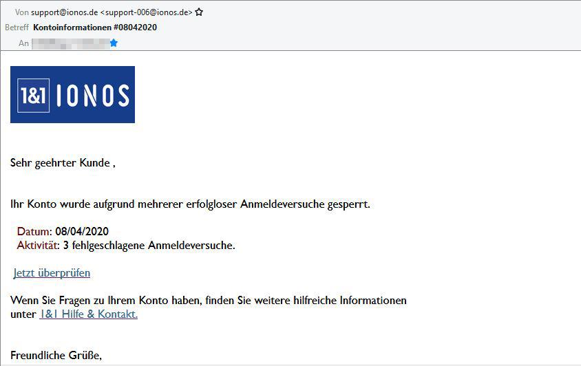 Vorsicht vor falscher IONOS E-Mail