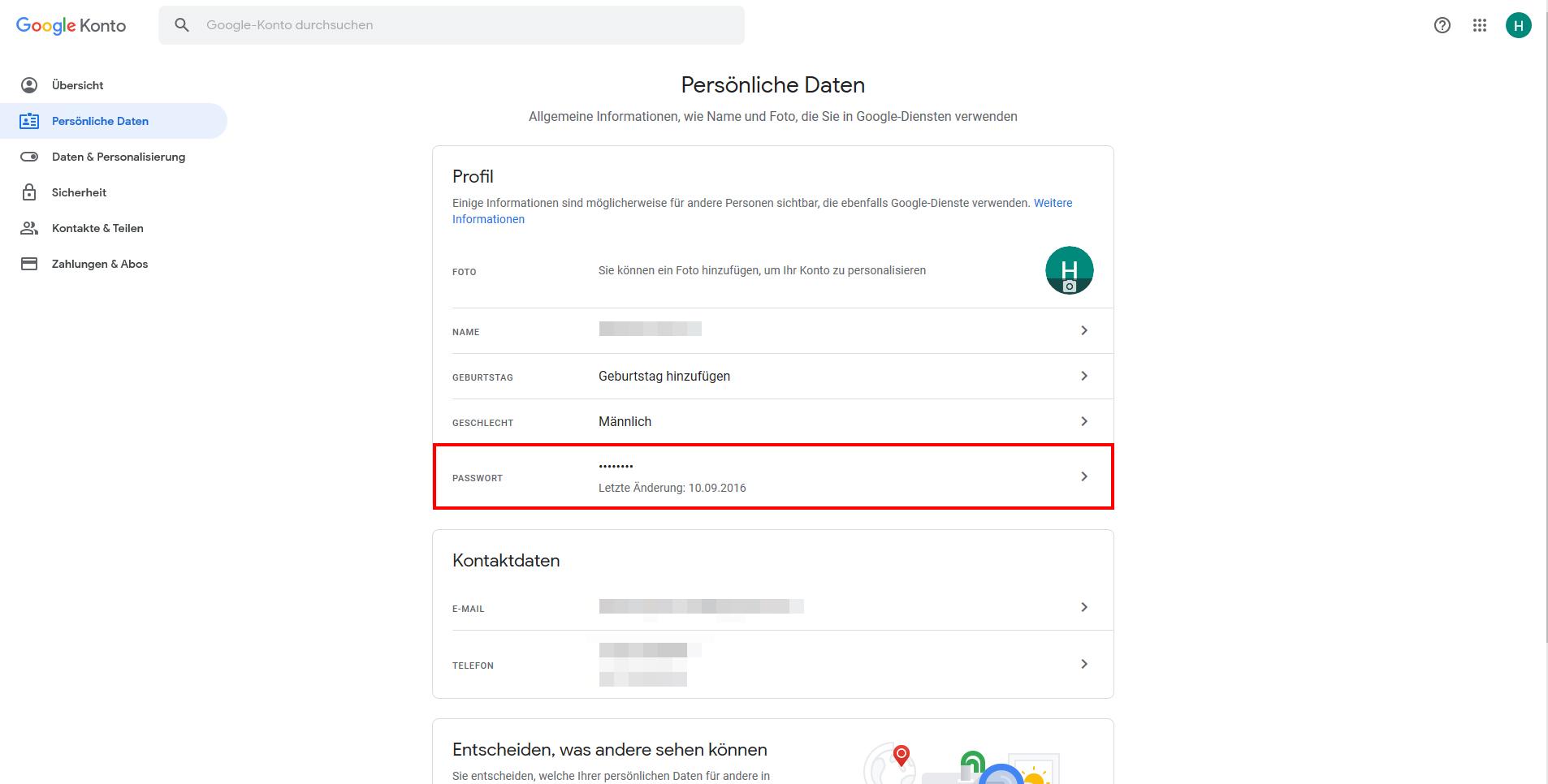 Google Passwort ändern - mit Hinweisen zur letzen Änderung