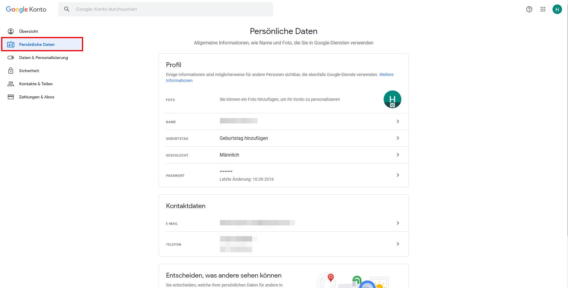 In Google Konto einloggen und Persönliche Daten verwalten