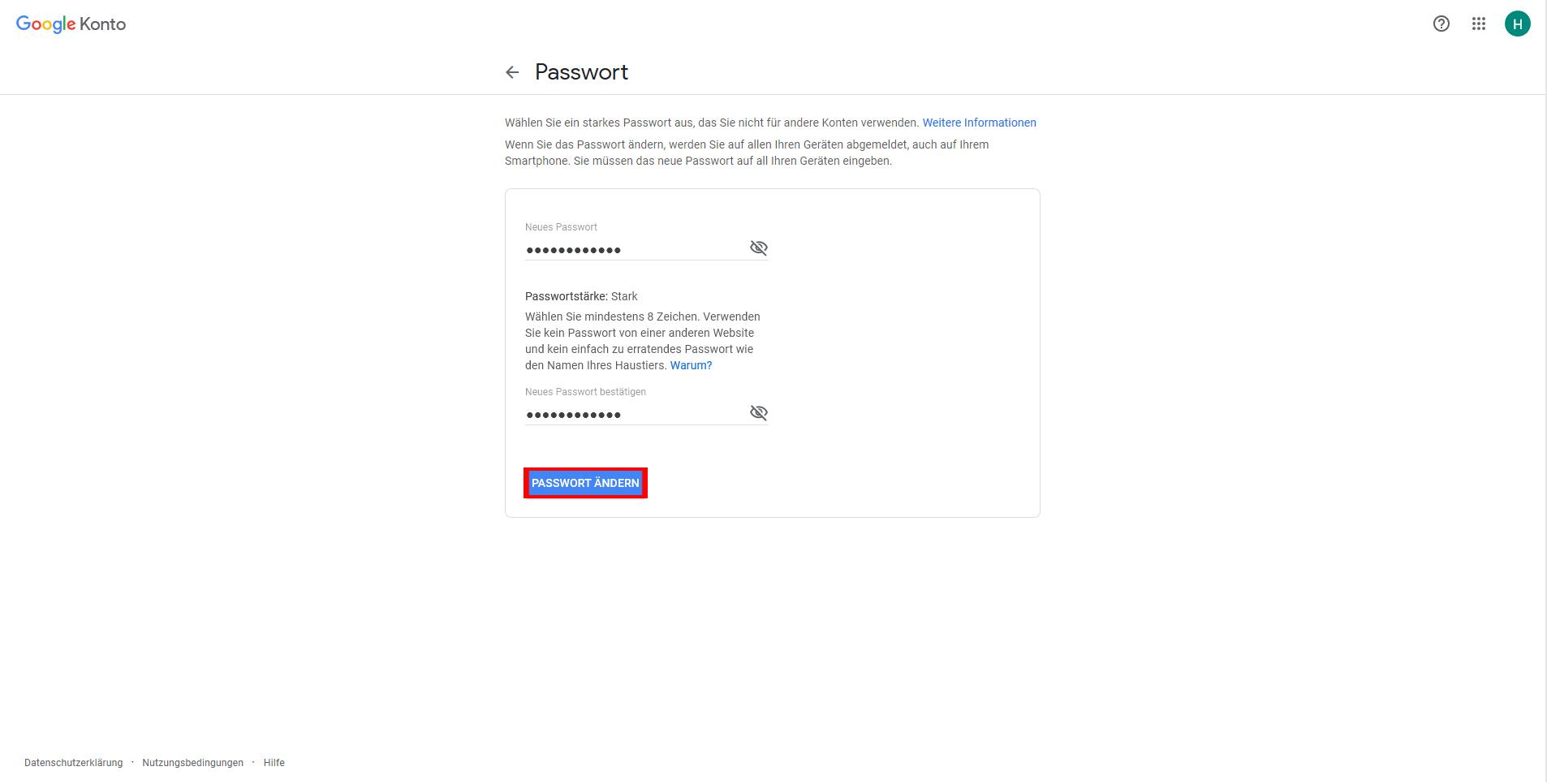 Neues Passwort vergeben - achten Sie auf die Passwortstärke