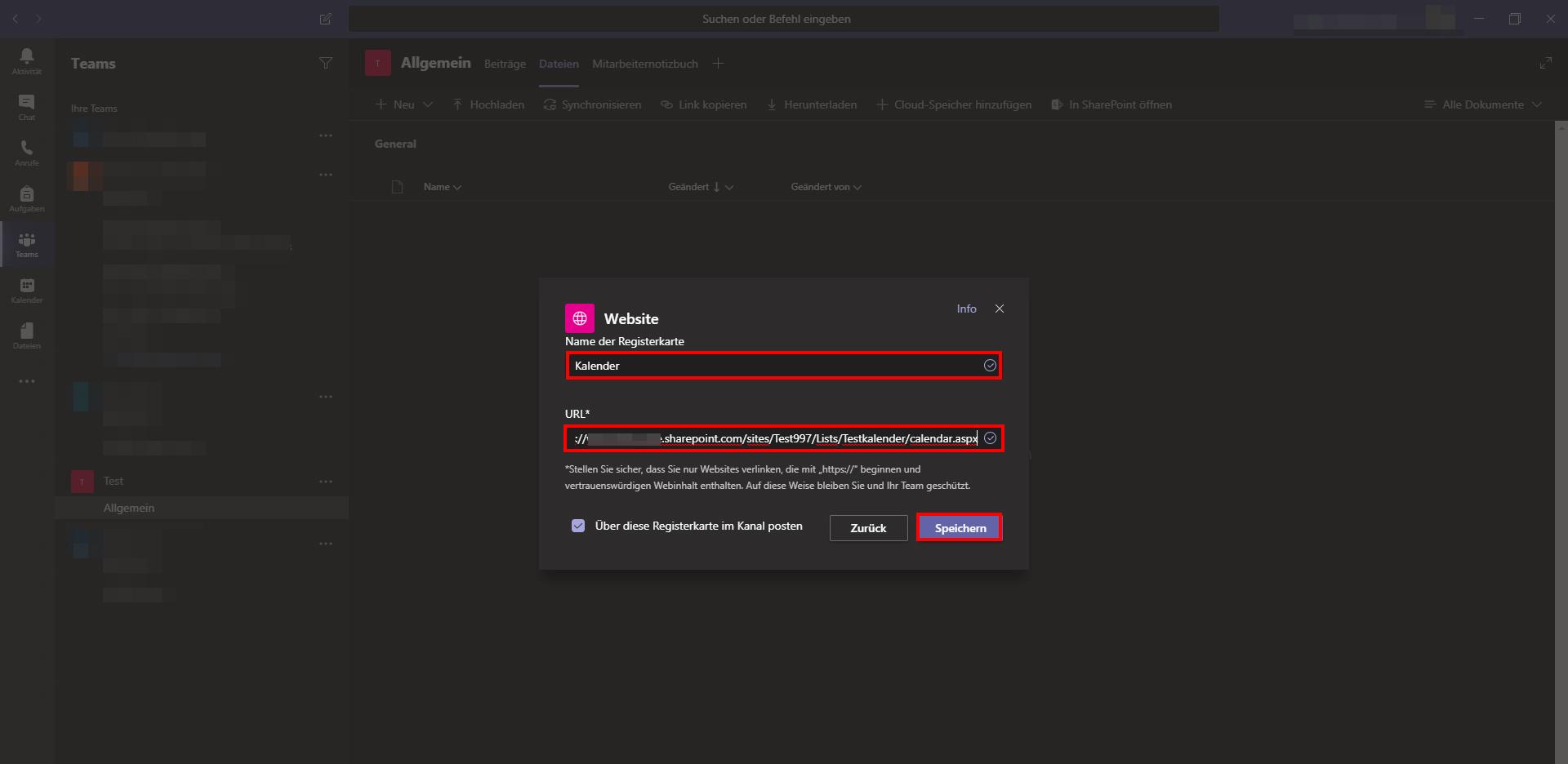 Teamkalender zu Microsoft Teams hinzufügen