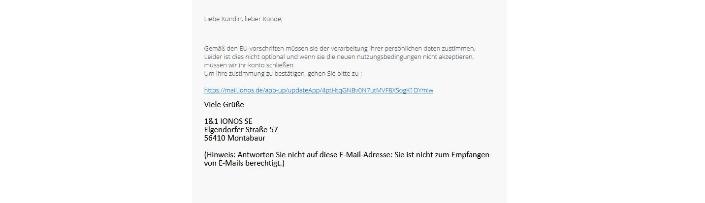 Vorsicht vor dieser Fake E-Mail IONOS WebMail wird deaktiviert