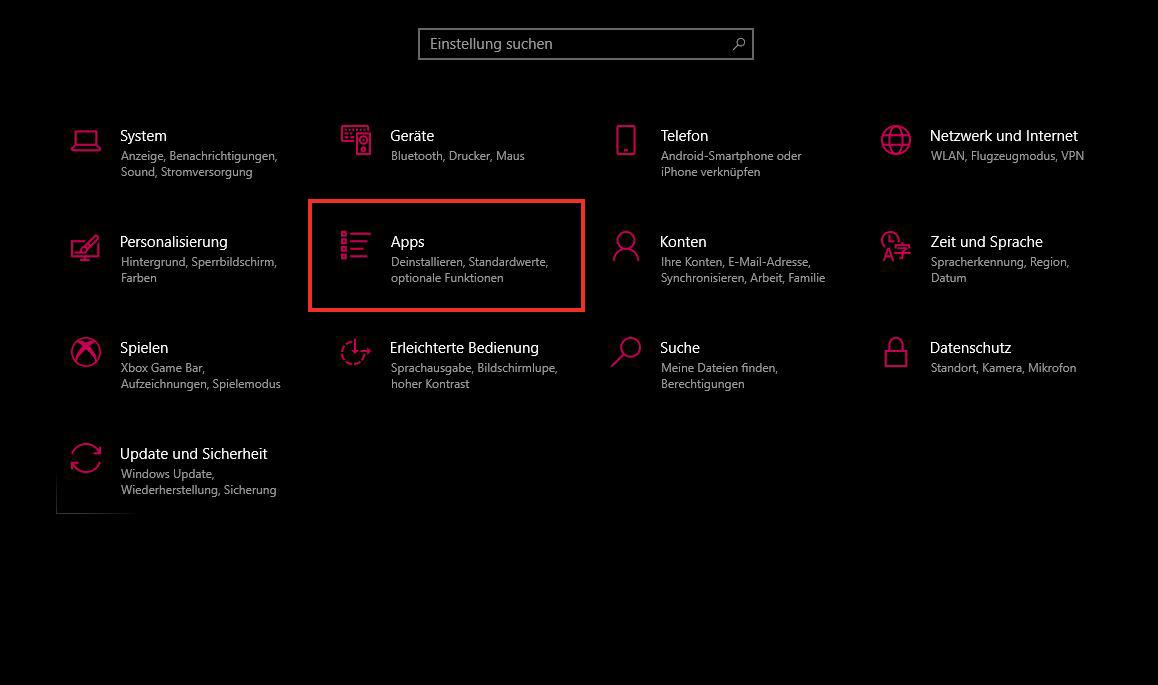 Windows-Einstellungen Apps verwalten
