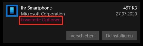 Windows-Programm Ihr Smartphone - Erweiterte Optionen aufrufen