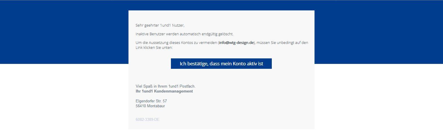 Falsche Fake E-Mail im Design von 1und1 unterwegs