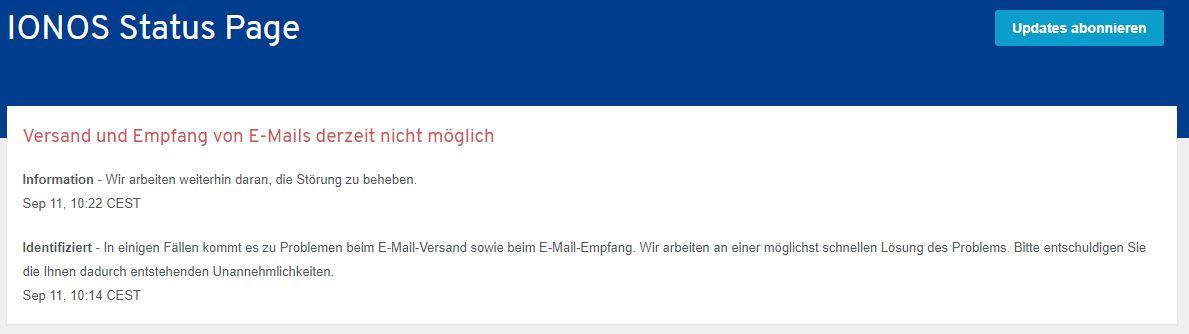 Ionos Status-Page Versand und Empfang von E-Mails derzeit nicht möglich