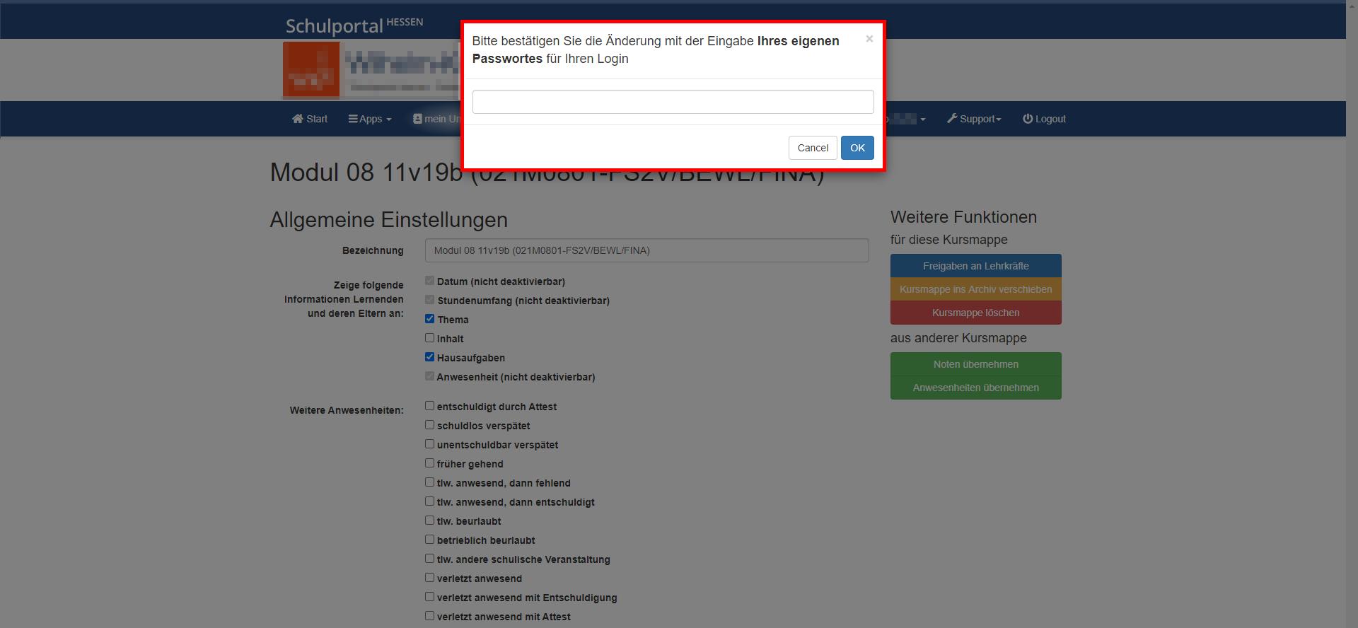 Entscheidung mit der Passwort-Eingabe bestätigen