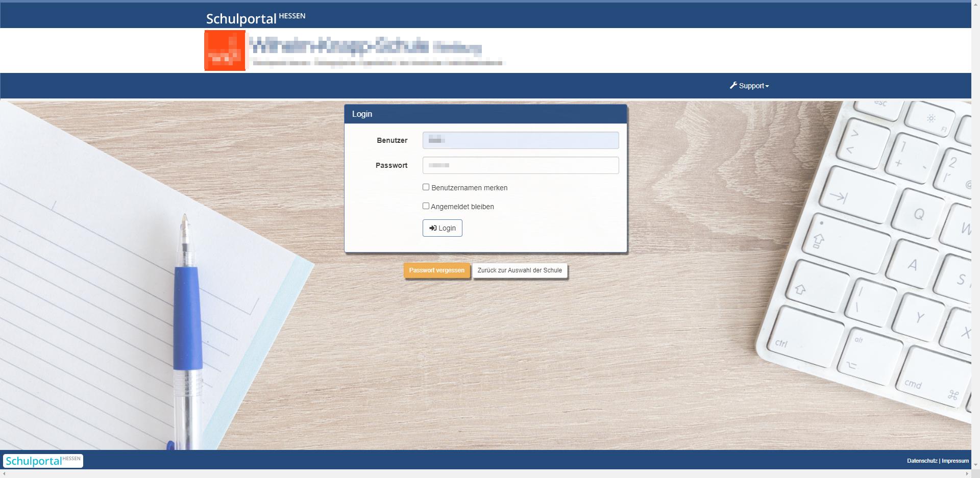 Loginfenster Lanis Online - Anmeldung