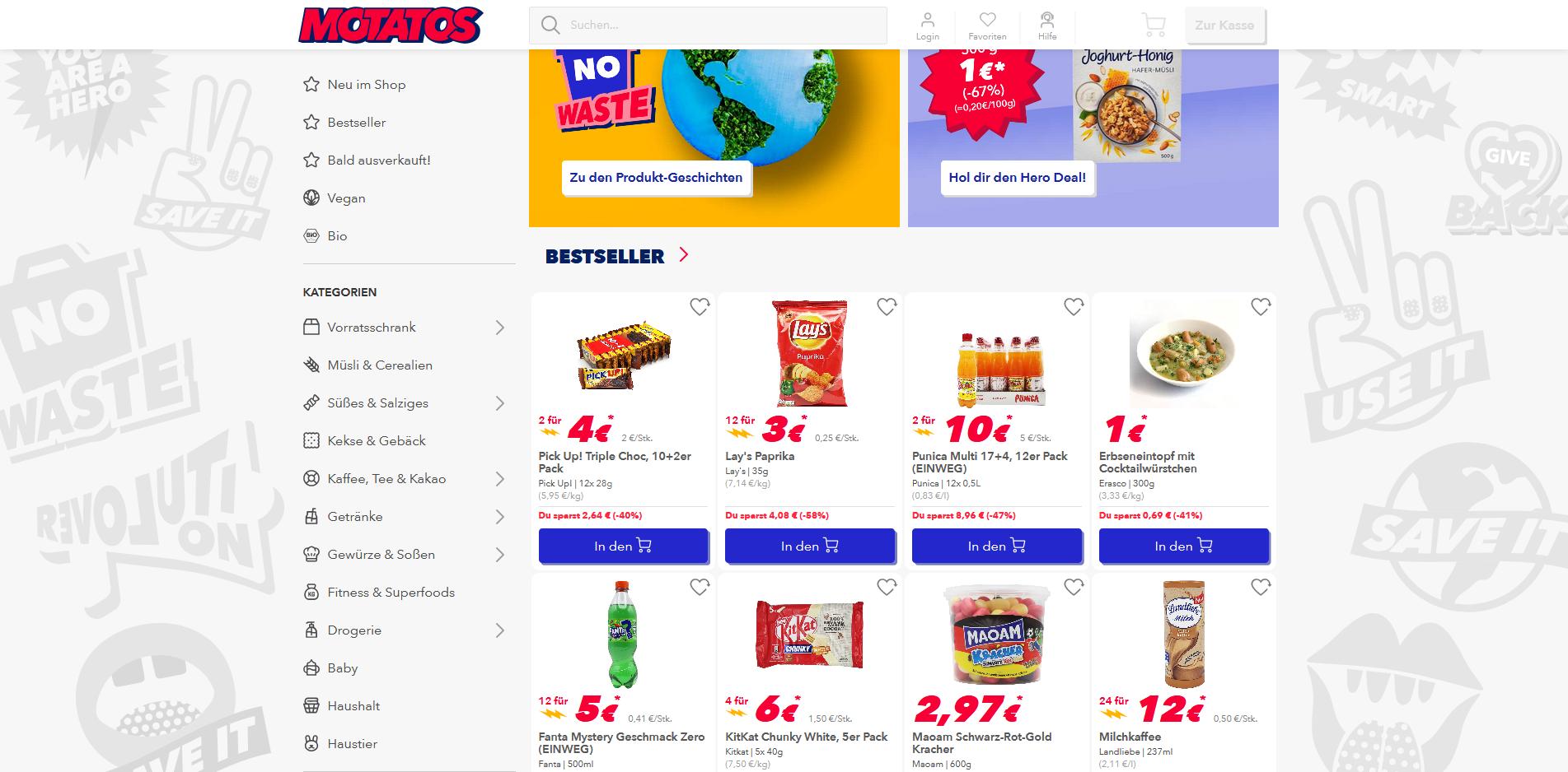 Motatos Online-Shop - perfekte Lebensmittel retten