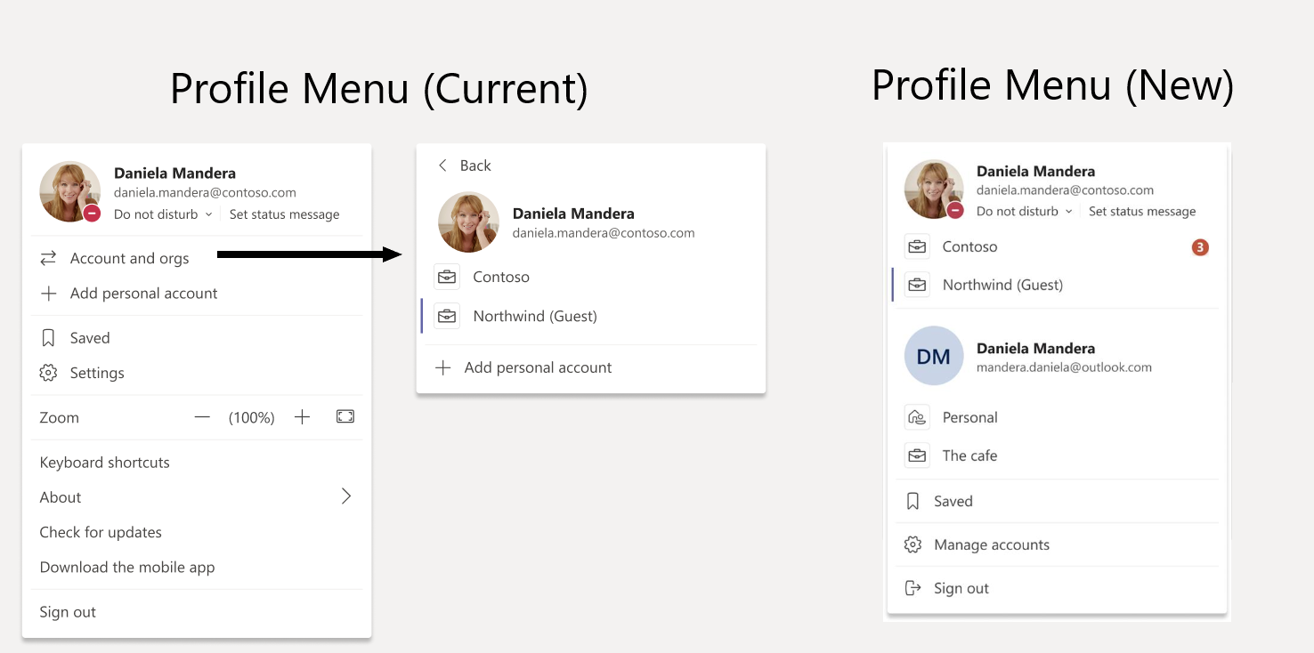 Microsoft Teams - Neues Profilmenü