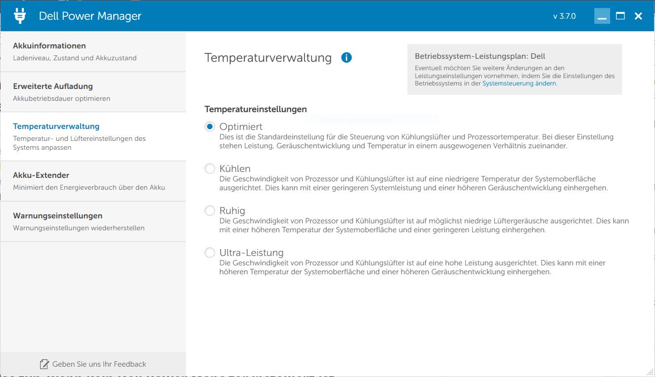 Dell Power Manager - Lüfter-Geschwindigkeit anpassen