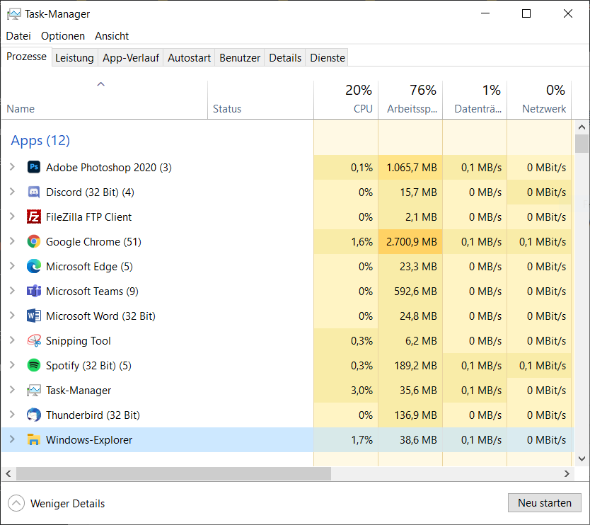 Windows-Explorer Task im Task-Manager beenden