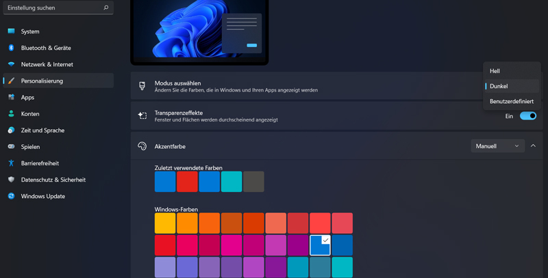 Windows 11: Dunkelmodus / Dark Mode aktivieren