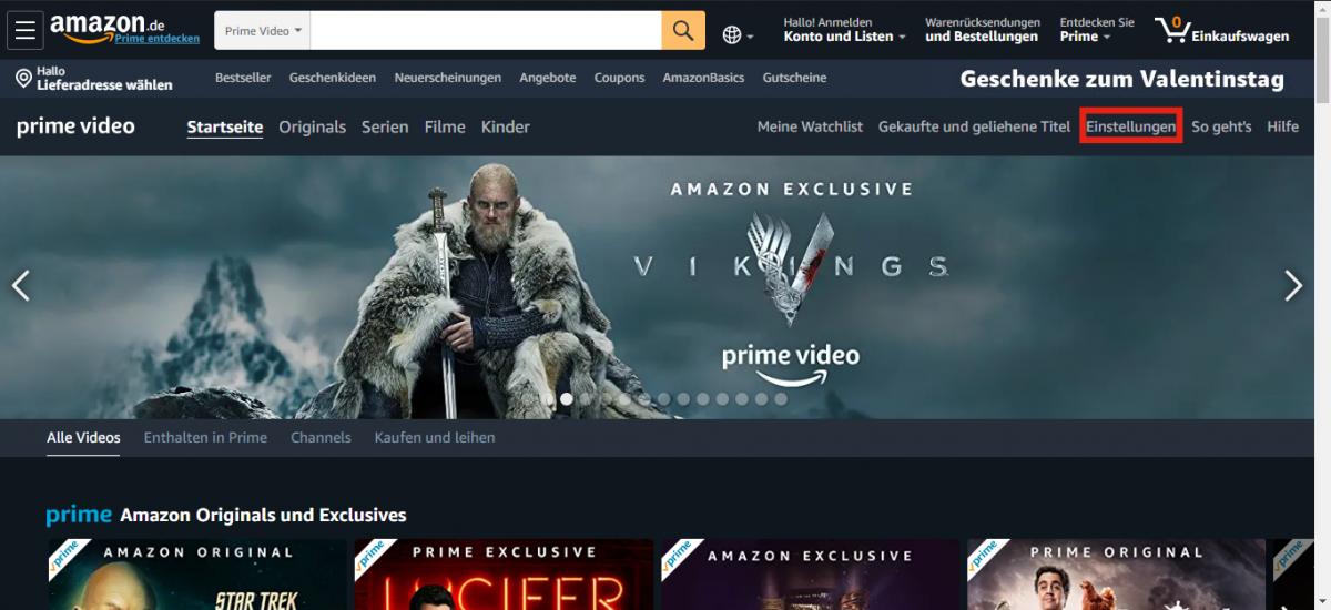 Amazon Prime Video Einstellungen öffnen