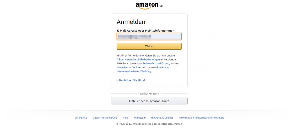 Anmelden bei Amazon
