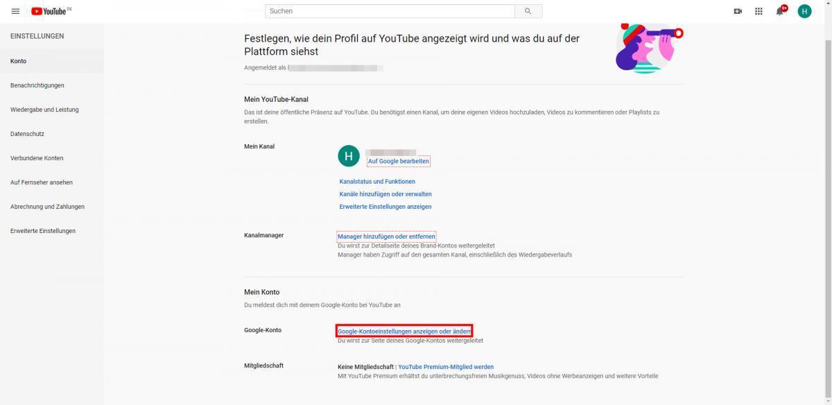 Google-Kontoeinstellungen anzeigen oder ändern anklicken
