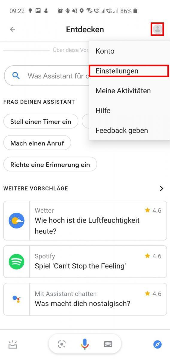 Google Assistant App Einstellungen öffnen